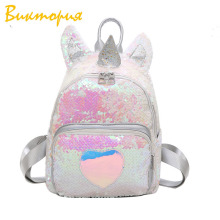 2019 New Sequins Unicorn Girl Fashion Sequin Shoulder Bag Cartoon Cute Backpack Schoolbag For Teenage Student Girls