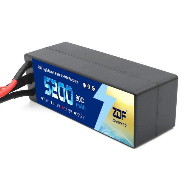 ZDF Lipo Battery 7.4V 11.1V 14.8V 5200mah 6200mah Hardcase 2S 3S 4S 80C 160C 1/10 1/8 Scale For Traxxas Slash 4x4 RC Cars Boat