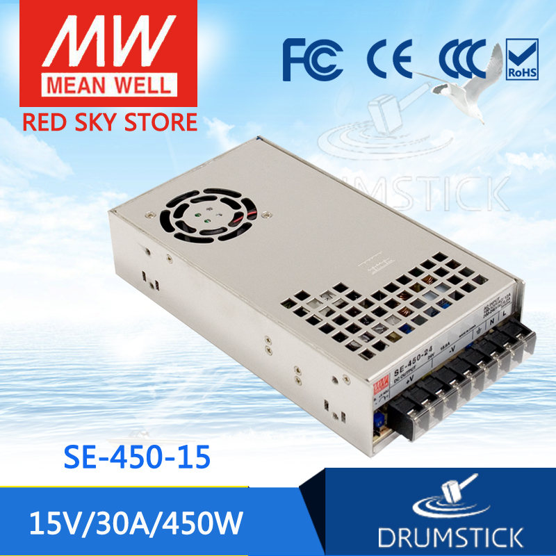 Genuine MEAN WELL SE-450-15 15V 30A meanwell SE-450 15V 450W Single Output Power Supply hot selling mean well se 1500 15 15v 100a meanwell se 1500 15v 1500w single output power supply