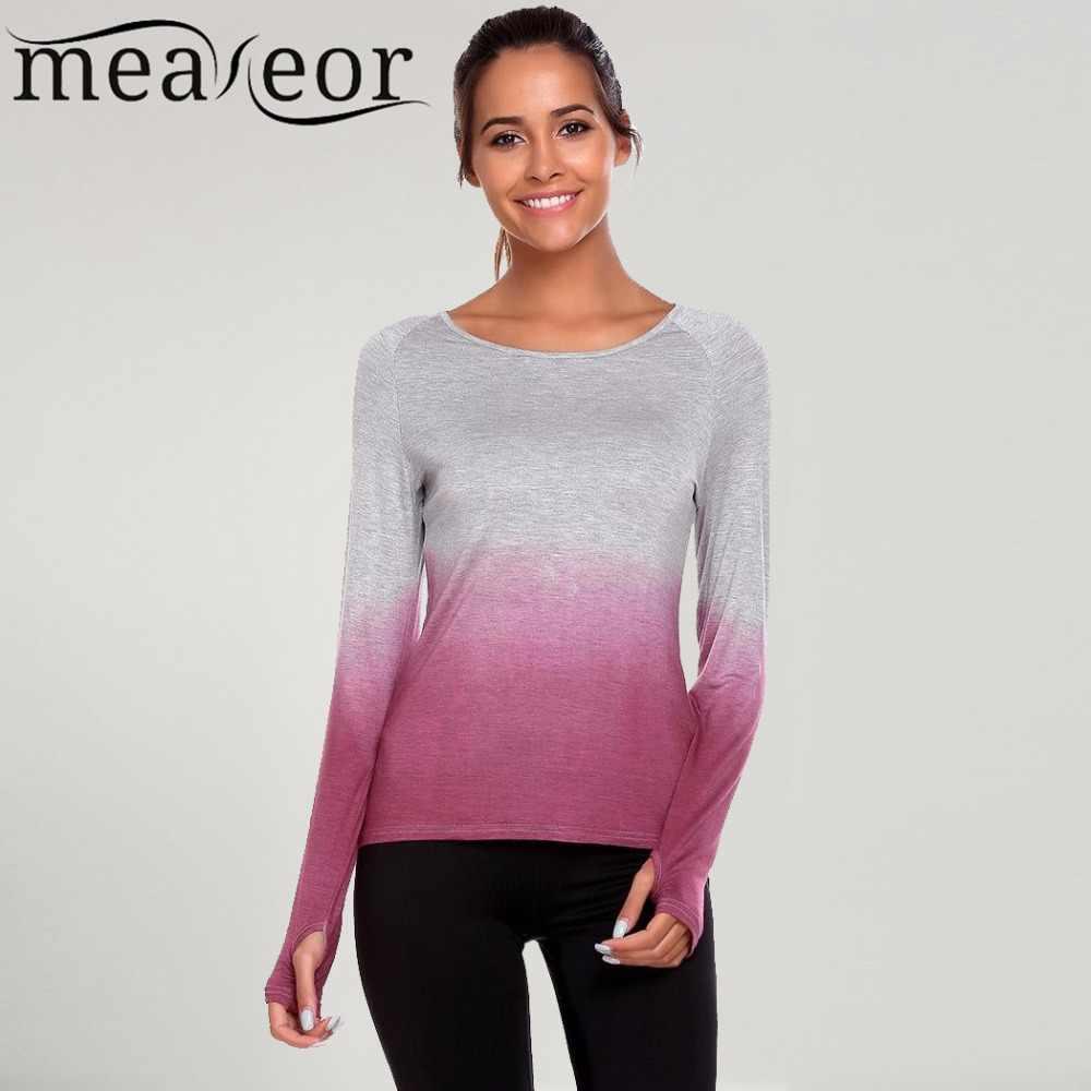 9100c1bfa6831 Meaneor 2017 Autumn Fashion Women T-Shirts Casual Raglan Sleeve Thumb Hole  Gradient Color O