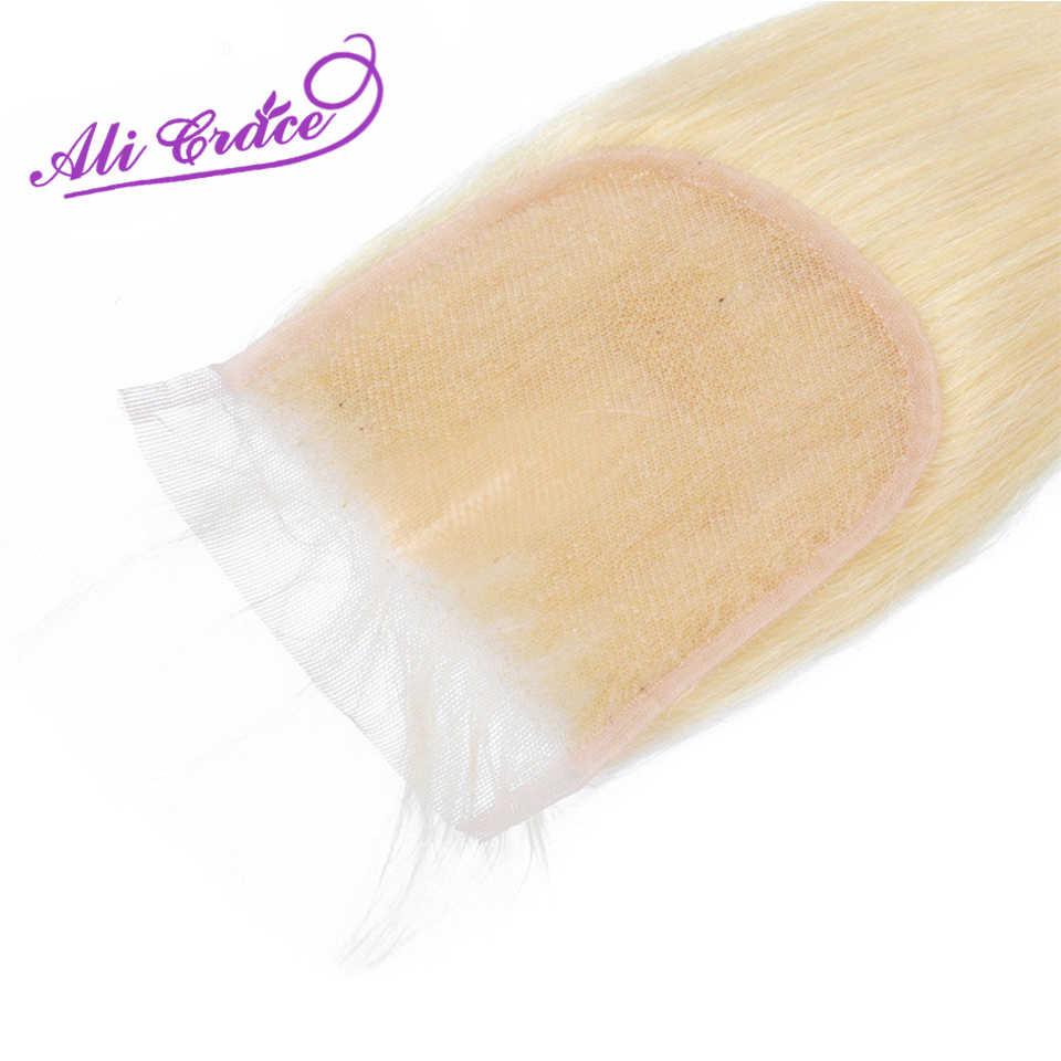 Ali Grace 613 Blond Haar Sluiting #613 Peruaanse Steil Haar 4*4 Midden Gratis Deel Sluiting 100% Remy menselijk Haar Kant Sluiting