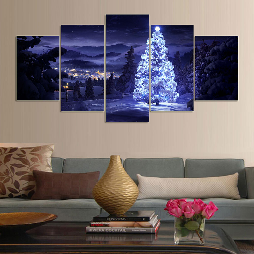5 Piece canvas art Living Room christmas decorations for