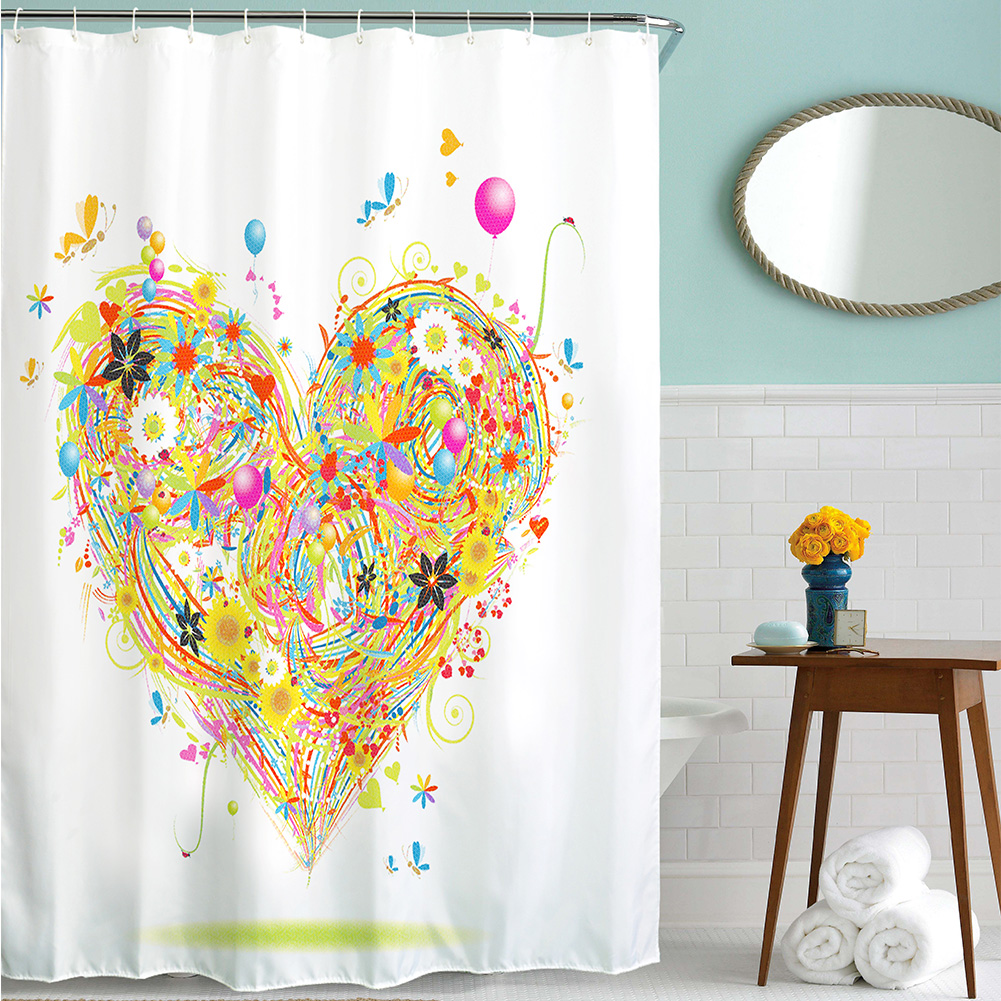 Emojis shower curtains emojis fabric shower curtain liner - Home Decor Flower Heart Painted Polyester Shower Curtain Waterproof Fabric Bathroom Curtain Festive Decoration Home Living