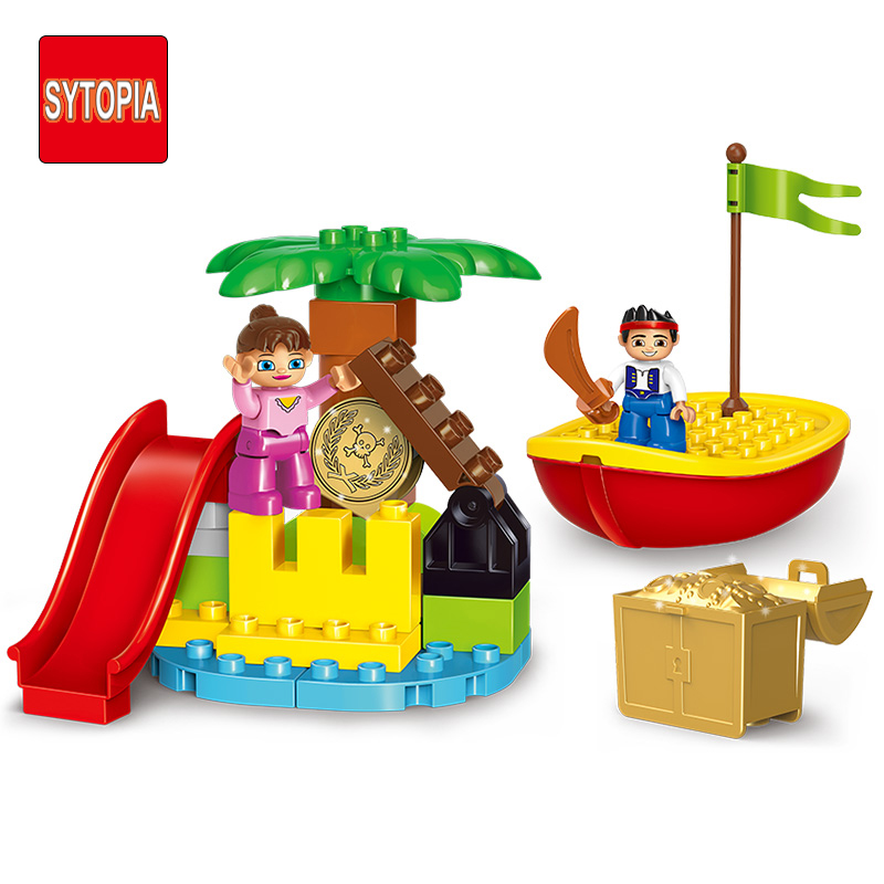 Sytopia Mini Pirate Treasure Children Safe Building Blocks Big Size Educational Toy For Baby Kid Gift Toy Compatible With Duploe sytopia fire station fire police children building blocks big size educational toy for baby kid gift toy compatible with duploe