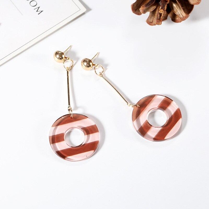New Candy Creative Fancy Arcylic Earrings Translucent Stripe Long Chain Earrings Original Women Jewelry Girl Gift in Drop Earrings from Jewelry Accessories