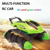 Multi Function RC Boat Tank Car On Water Grass Sand Children Remote Control Toy Amphibious Car