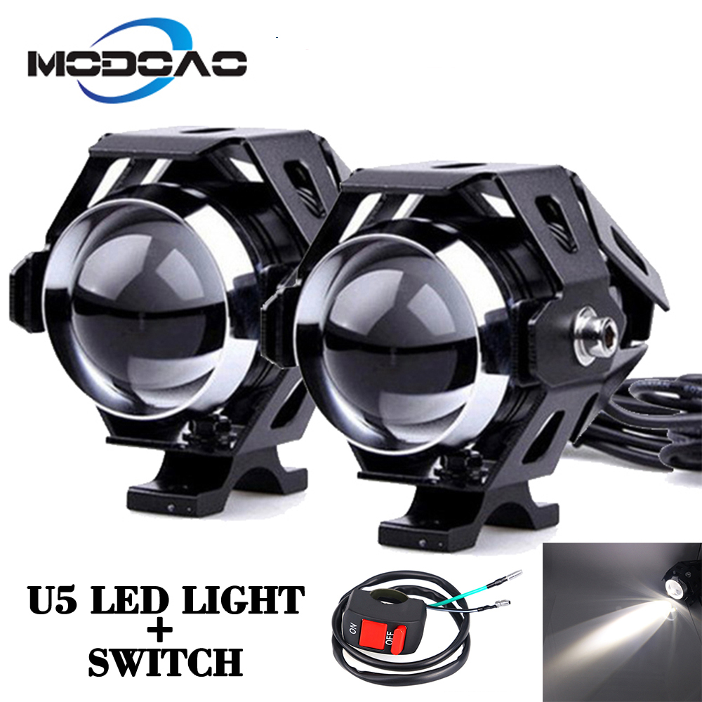 2Pcs 125W Universal Motorcycle Headlights Auxiliary Lamp U5 Led Motorbike Spotlight Accessories 12V Moto DRL Spot Head Lights