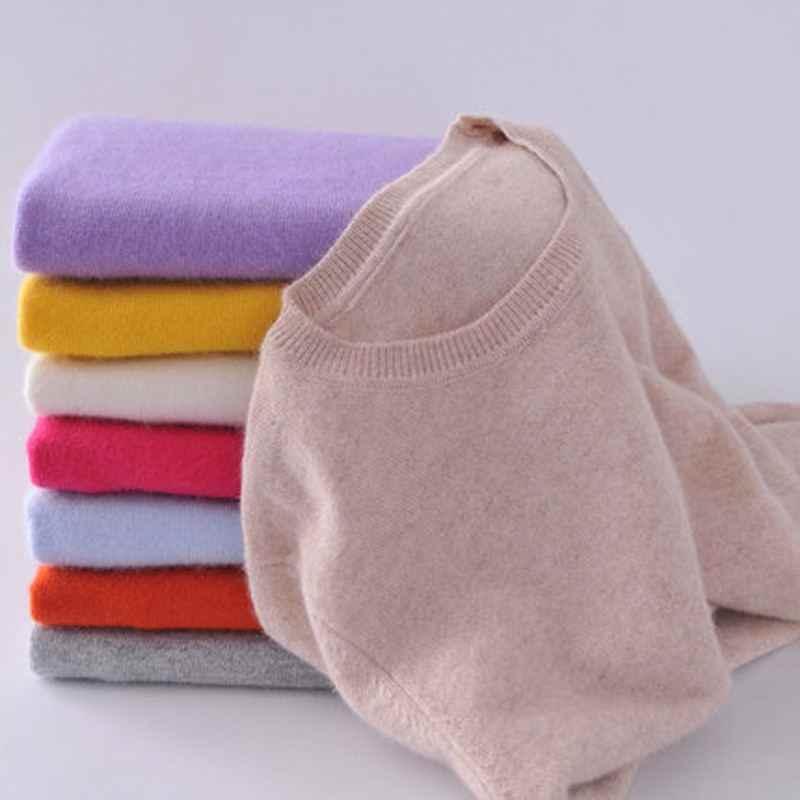 Qiaofeishang Wol Kasmir Sweater Wanita Warna Solid Pullover Leher O Lengan Panjang Rajutan Pakaian
