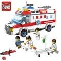 QWZ City Series Ambulancia Médico Enfermera Modelo Building Blocks Ladrillos Autoblocante juguetes Educativos Reunidos Juguetes para niños Regalos de Navidad