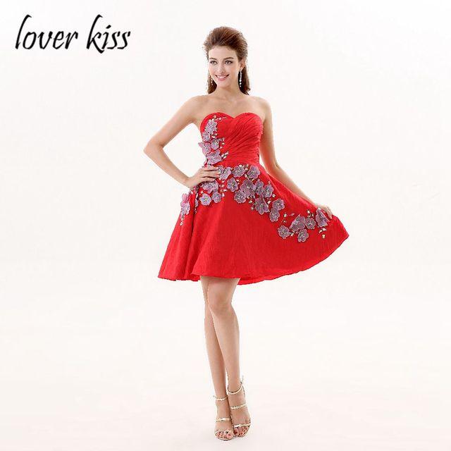Liebhaber Kuss Vestido De Festa Prom Kleider Rot Sleeveless Schatz ...