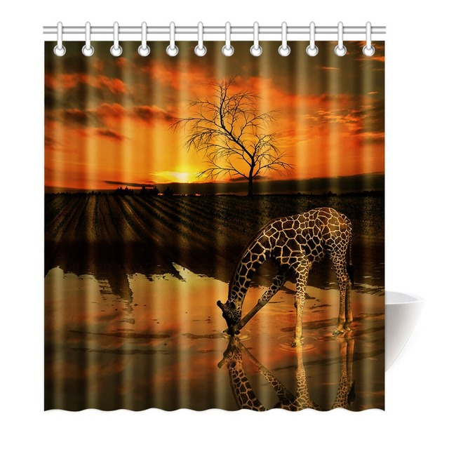 Beautiful Giraffe Drinking Water Under The Sunset Shower Curtain Printing Waterproof Mildewproof Polyester Fabric Bath