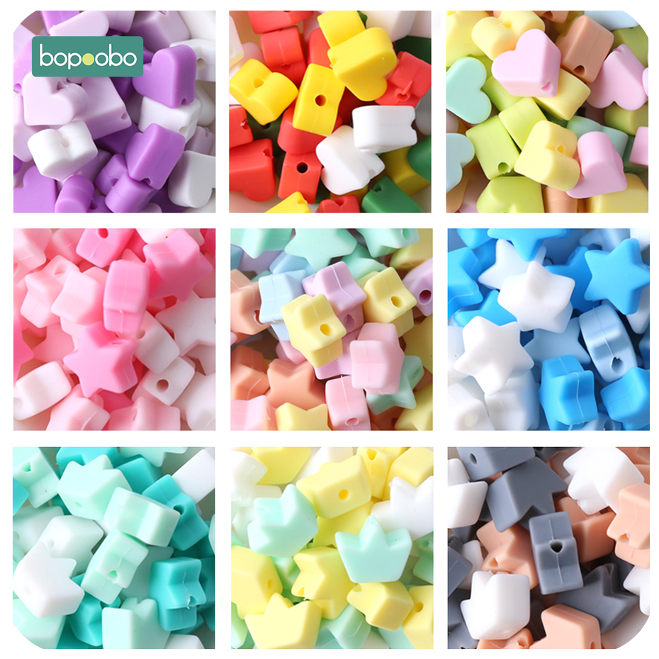 Bopoobo 40PC Silicone Beads Teething Teether Accessories Food Grade Pearl Silicone Star Teething Pacifier Dummy Making Teether(China)