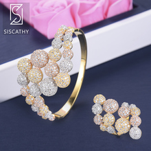 SISCATHY Classic Geometric Jewelry Sets Bubble Adjustable Bracelets/Ring African Wedding Cubic Zirconia Jewelry Sets 2019 недорого
