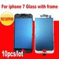 """10 pcs black/white 4.7 """"frente outer lente de vidro da tela de toque com frame para o iphone 7 4.7 polegadas telefone de substituição"""