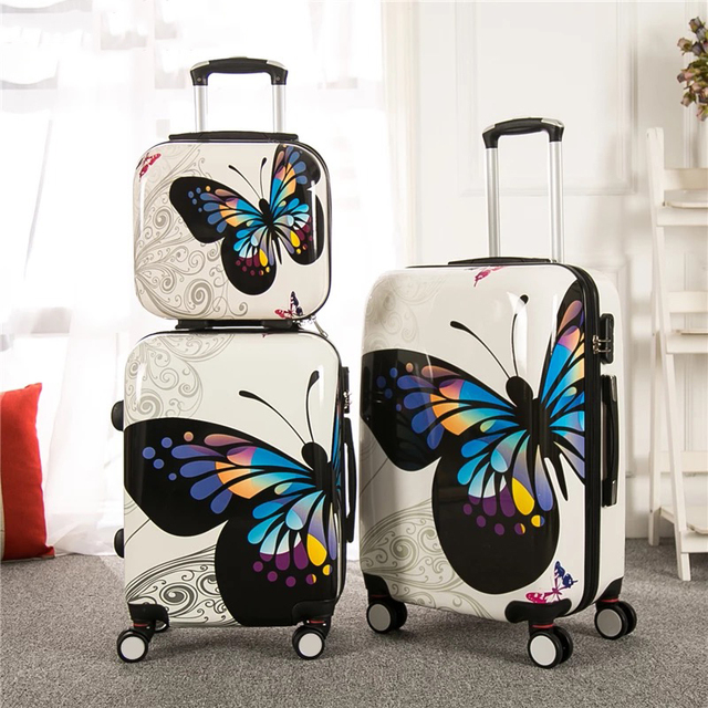 Fashion PC Rolling Luggage Set With Cosmetic Case Spinner Brand Travel  Suitcase Men Women Carry On Trolley Luggage 20/24 inch