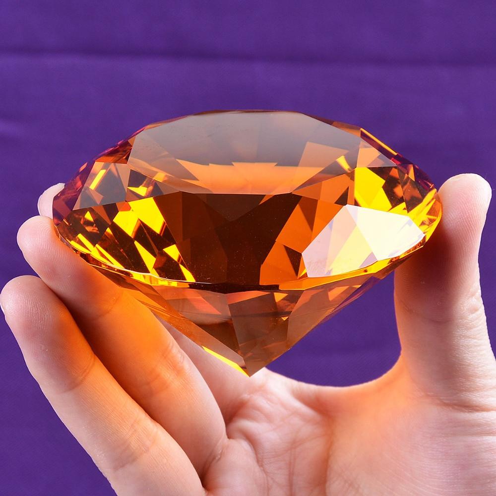 Loď z USA 80 mm Amber Crystal Diamond Paperweight Home Svatební dekorace Crystal Diamond Girlfriend Gift Diamond Crystal
