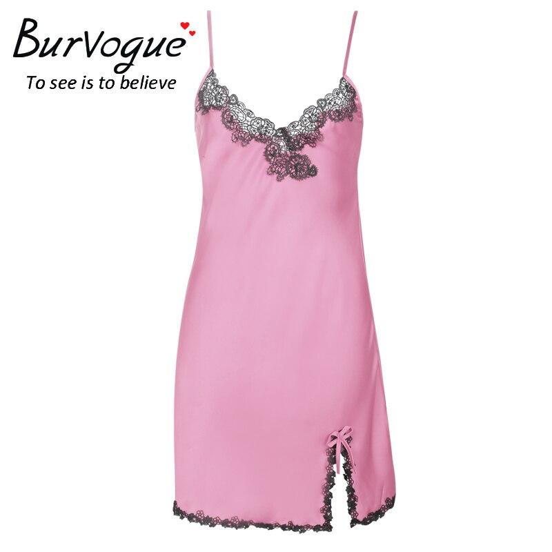 Burvogue Для женщин Сексуальная атласная ночная рубашка без рукавов должен  белье Ночная рубашка Кружево сорочка Лето Ночное белье  ee06c200e4317
