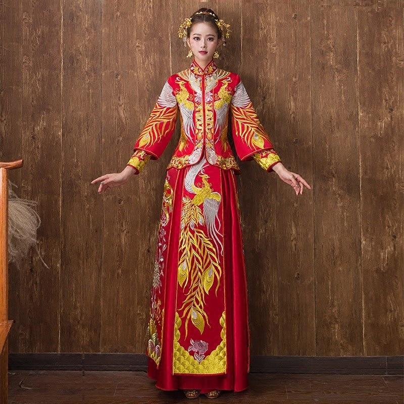 Women Dragon Phoenix Embroidery Cheongsam Chinese Classic Style Red Sexy Marriage Dress Lady Coat&Skirt 2PCS Bride Wedding
