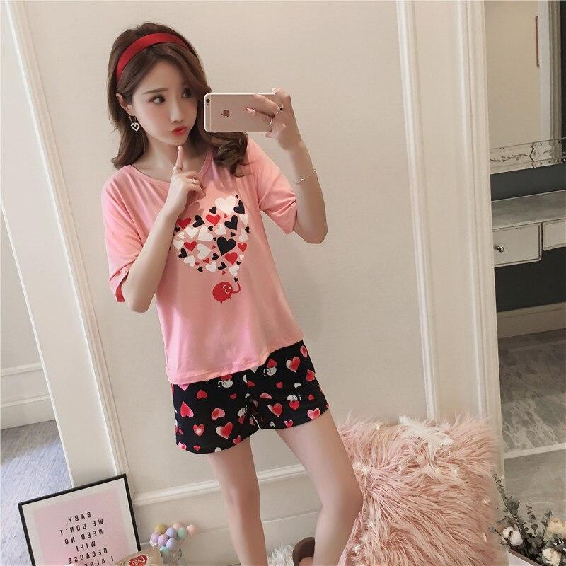 2019 Spring Summer WAVMIT   Pajamas     Set   for Women Summer Short Sleeve Cartoon Cute Sleepwear Girl Pijamas Nightgown Women Gift