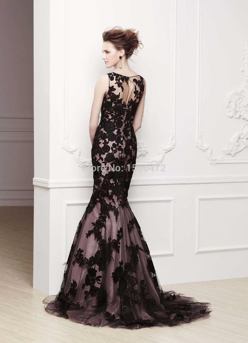 ee1379974 Elegante Piso Larga Noche de la Sirena Negro Vestidos para la velada ...