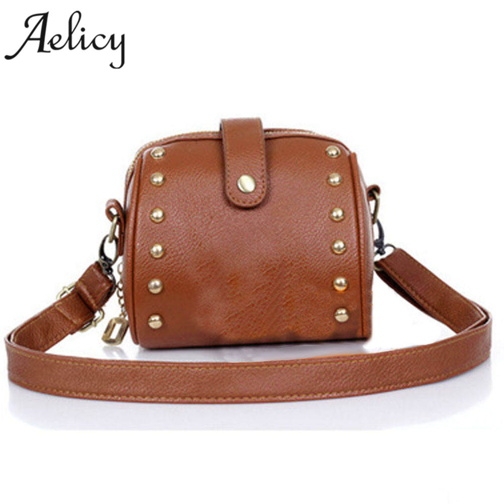 Aelicy Fashion Shoulder Bag High Quality PU Small Women Bag Handbag Mini Rivet Shoulder Bags Women Messenger Bag bolsa feminina 2017 fashion all match retro split leather women bag top grade small shoulder bags multilayer mini chain women messenger bags