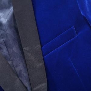 Image 4 - PYJTRL erkek sonbahar kış klasik şal yaka kraliyet mavi kadife düğün damat takım elbise ceket eğlence Blazer Masculino Slim Fit