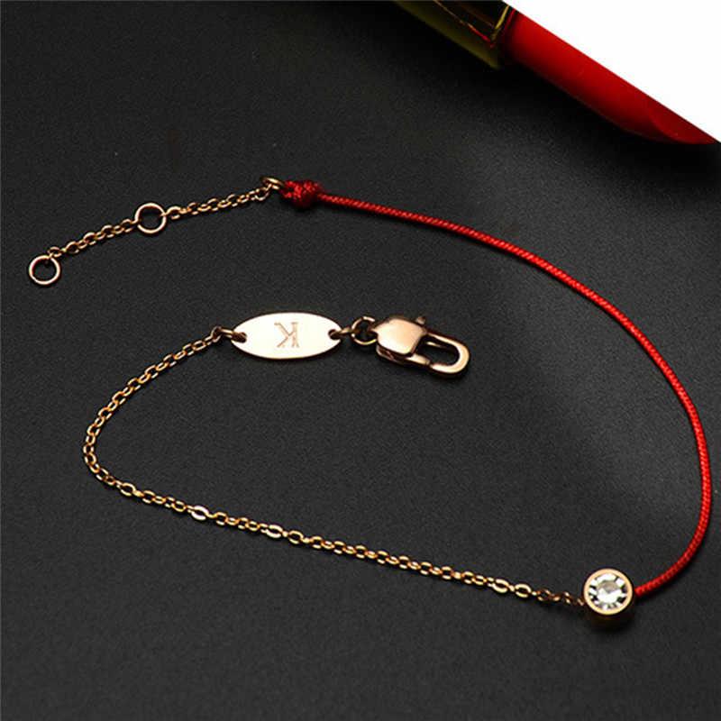 GS ステンレス鋼赤糸線ストリングブレスレット女性ローズゴールド手作り赤ロープチェーン Aaa ジルコニア腕輪ジュエリー g5