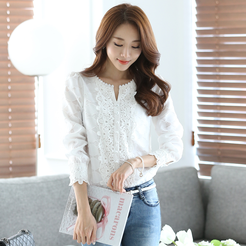 Office Lady Spring Basic Chiffon   Blouse     Shirts   Women Lace Solid Long Sleeve Tops White O-Neck Embroidery Big Size