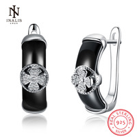 INALIS Black Color Ceramics Stud Earrings Flower Zircon 925 Sterling Silver Earrings For Women Elegant Jewelry