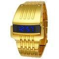 Мода Полный Стали Светодиодные Золото Цифровые Часы Мужчин Спортивные Часы 2016 Военный Часы ЖЕЛЕЗНЫЙ Человек Браслет Наручные Часы