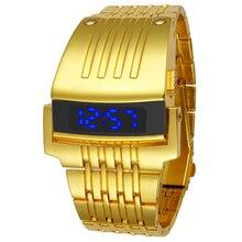 De moda de Acero Completo Reloj de Los Hombres Del Deporte Relojes 2016 Relojes Militares Led Digital de Oro IRON Man Pulsera Reloj de pulsera Horas