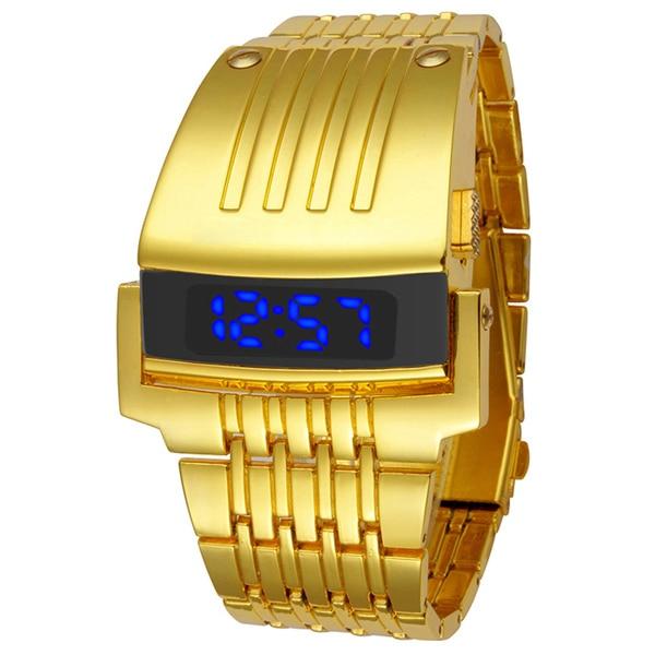 1286e8dbeba Moda Completa Aço Led Relógio Digital de Ouro Relógios 2017 Relógios  Militares Dos Homens Do Esporte