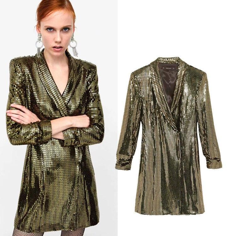 Or Soirée Long Parti Veste 2019 Blazer Manteau Femmes Printemps Automne Sequined Paillettes Gold Sexy Robe De rCfP5r