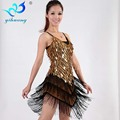 Droplets Sequins Latin Dance Dress Women Tango Ballroom Salsa Dance Dress Party Costume Dancewear Tassel Strap Dresses