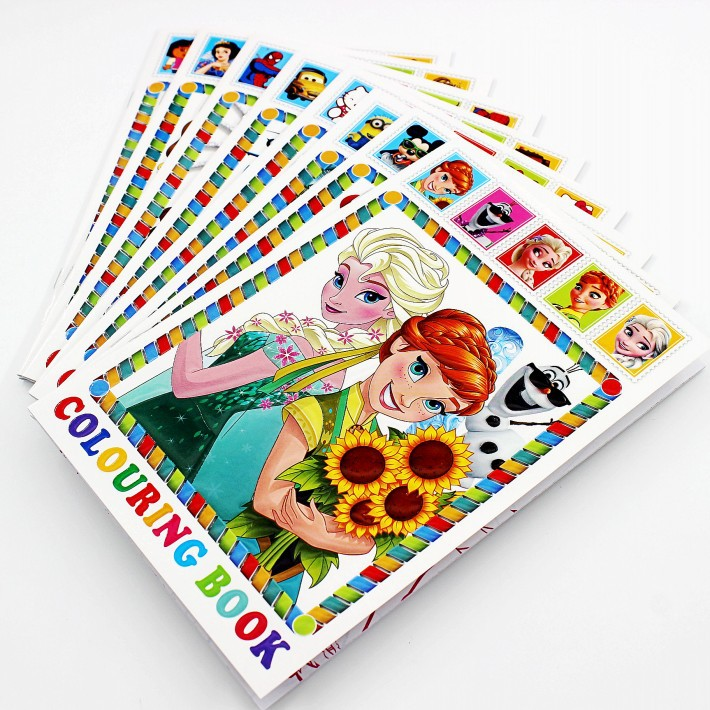 8 Style Snow Princess Girls Coloring Book Sticker Book For Kids Children Adults Colouring Painting Drawing Story Color Art Books
