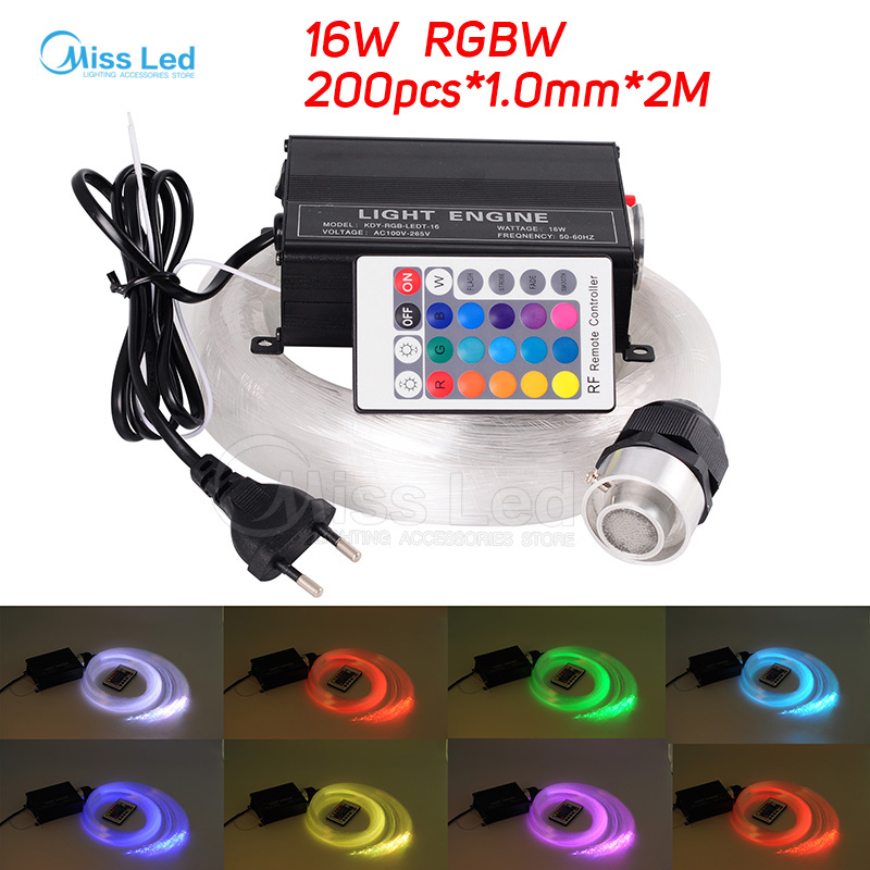 цены 16W RGBW engine 200pcs*1.0mm*2M LED Fiber optic light Star Ceiling Kit Lights optical lighting+RF 24key Remote+5pcs crystal