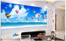 Custom 3d wallpaper murals Mediterranean landscapes wall Blue sky white sky hot air balloon TV wall backdrop bedroom decoration sky sky the great balloon race