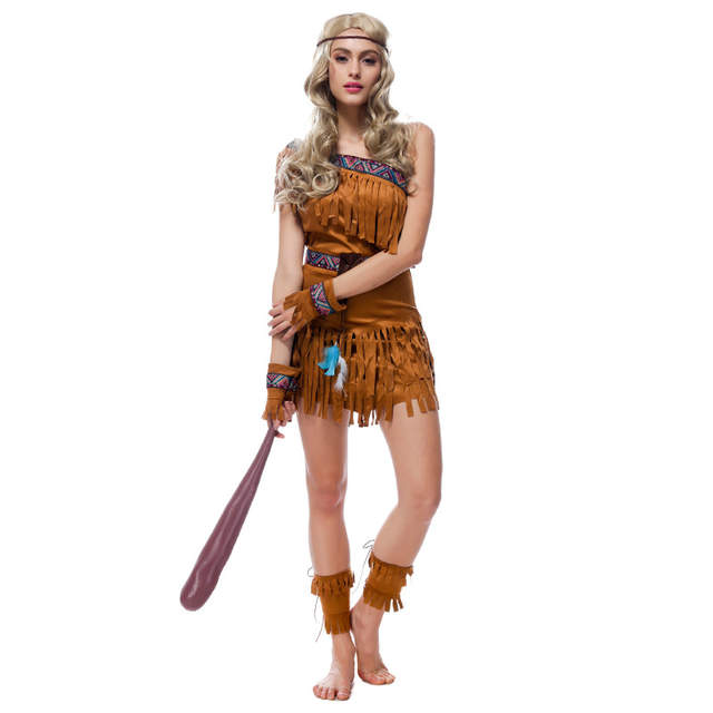 Vashe Jiang Sexy Indians Costume Medieval Tassels Forest Hunter Clothing Halloween Carnival Costumes For Adults Fantasia