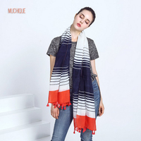 Muchique Classic Scarf Women Skinny Stripe Oversized Scarves With Red Tassels Fashion Pretty Lightweight Long Shawl