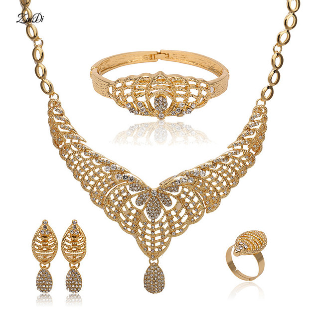 2018 Exquisite Nigerian Wedding Jewelry Set Brand Dubai Gold Color