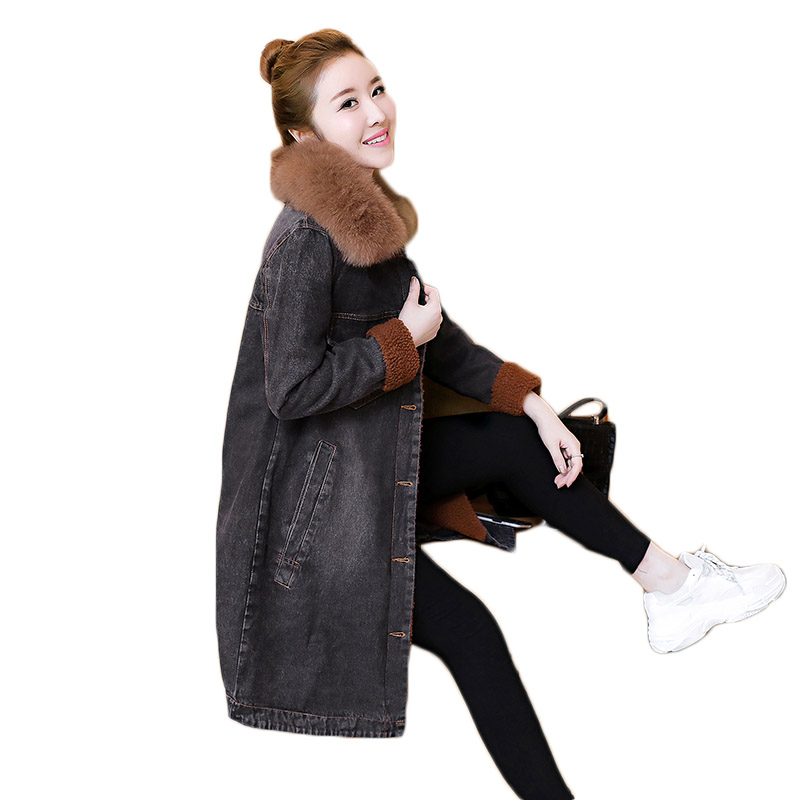 Plus Velvet Thicken Women Denim Jacket With Fur Collar Long Section Loose 2019 Autumn Winter Windbreaker Jeans Lamb Coat F1056