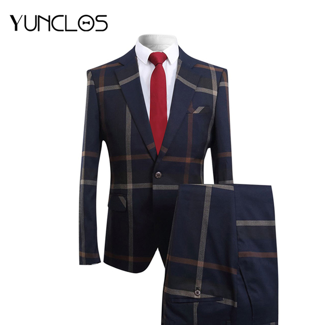 YUNCLOS 2019 hombres trajes de negocios de 2 piezas azul oscuro a rayas  trajes de traje 6e395697406