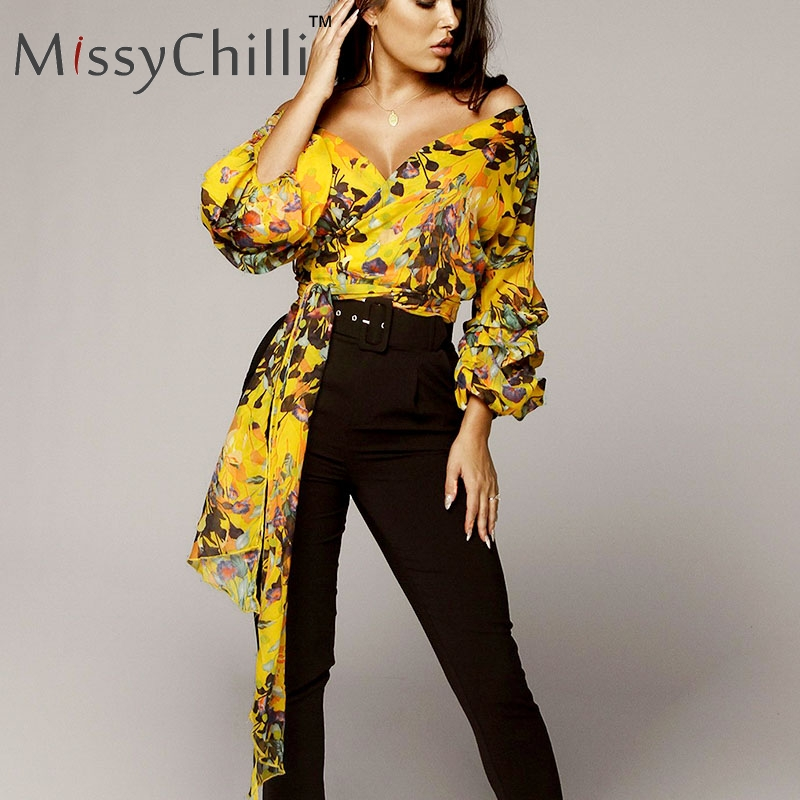 MiisyChilli Print off shoulder sexy   blouse     shirt   Women long sleeve casual v neck   shirt   Female lace up elegant summer   blouse   new