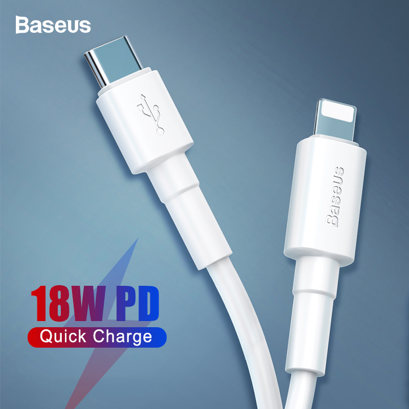 Baseus USB C Cable to USB Cable For iPhone X XS 8 Plus 18W PD Fast Charging USB Type C Cable Data Cable For Macbook Pro USB Cord(China)