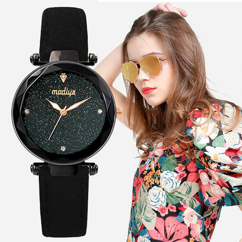 Women's Watches Fashion Starry Sky Mosaic Diamond Leather Belt Watch Woman Quartz Watches Reloj Hombre Bracelet Clock New XB40