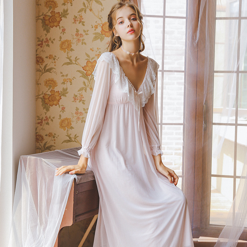 2019 New Autumn   Nightgowns     Sleepshirts   Sleepwear Women Sexy V-Neck Slash Night Wear Princess Long Dress Plus Size Homewear