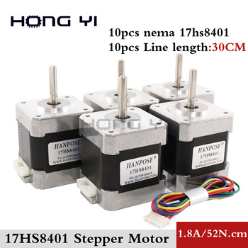 10 PCS / lot 4-lead Nema17 Stepper Motor 42 motor 17HS8401  1.8A CE ROSH ISO CNC Laser Grind Foam Plasma Cut 3D printer