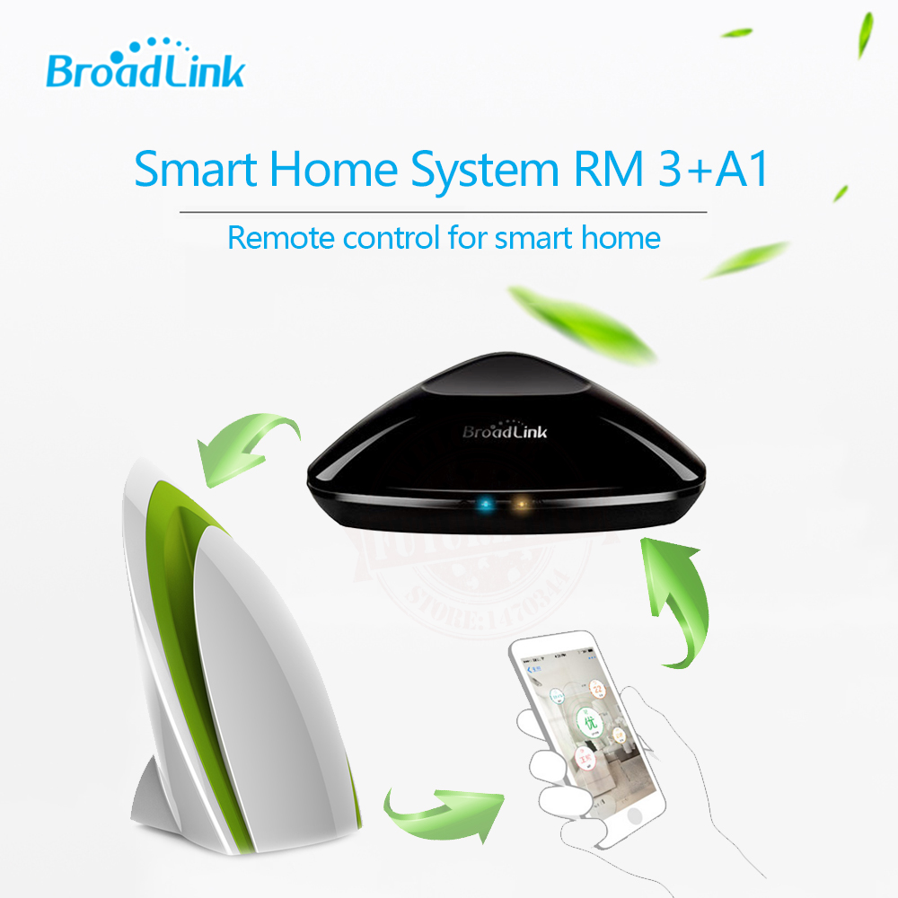 2018 Broadlink Rm3 RM Pro+ Smart Controller+A1 E-Air Quality Detector IR/RF/Wifi Intelligent Remote Control via IOS Android free shipping 2017 broadlink rm pro rm03 smart home automation wifi ir rf universal intelligent remote control switch for