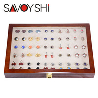 SAVOYSHI Luxury Glass Box Storage 50pairs Capacity Jewelry box High Quality Painted Wooden Box Authentic 350*240*55mm
