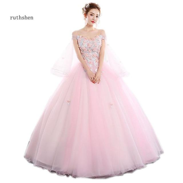 c7bf2b9a5c5 ruthshen Princess Vestido De Quinceanera Rosado Quinceanera Dresses Off The  Shoulder Prom dress Pink Vestidos Debutantes 2018